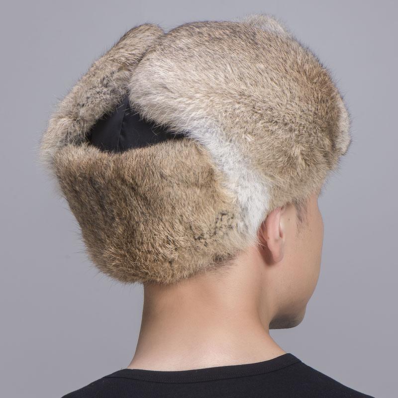 rabbit fur trapper hat tan black 5