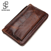 Genuine Leather Men Vintage Design Wallets Male Business Zipper Clutch Bag Men's Purse Man Card Holder Wallet Handbag Wrist Bags
