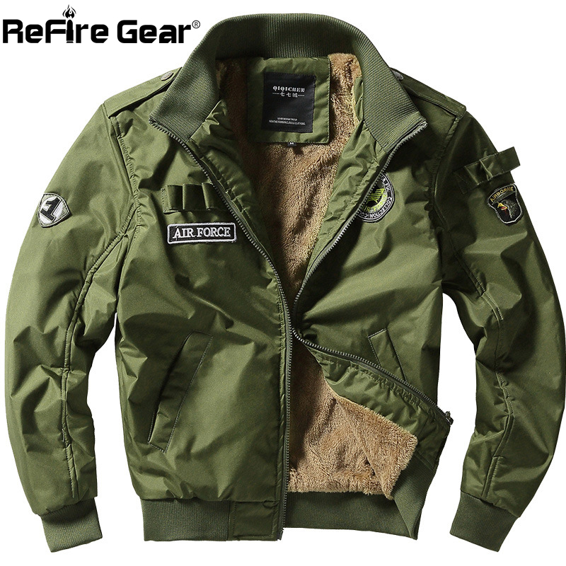 ReFire Gear Winter Air Force Flight Military Jacket Men Warm Thicken Fleece Lining Windbreaker Coat Casual Tactical Army Jackets