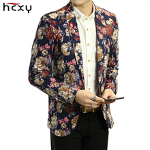 HCXY mens Blazer Men Floral Casual Slim Blazer jacket 2017 New Spring Fashion Party Single Breasted Men Suit Jacket  Size M-2XL