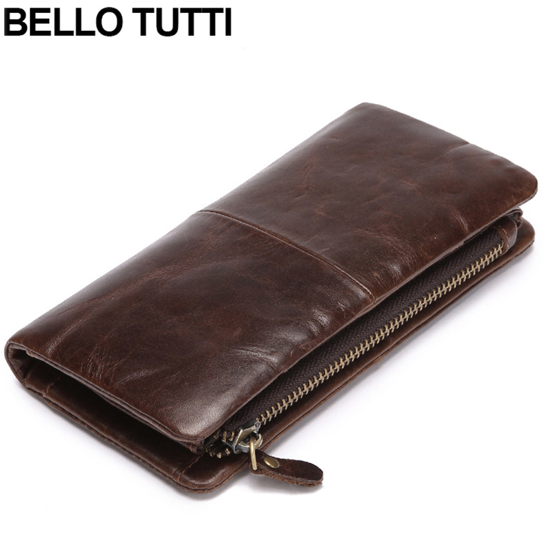 BELLO TUTTI Cow Leather Wallets Long Genuine Leather Business Wallets For Men Brown Vintage Zipper Business Purses Card Holder<br>