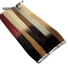 MRSHAIR T1B/Silver Hair Ombre Tape In Hair Extensions 20pcs Balayage Human Hair On Tape Hair Extensions Straight Non-Remy(China)