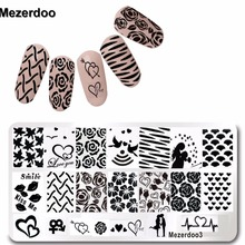 DIY Valentine Gift Heart Love Designs Rose Rectangle Stamping Plate Code Opera Mask Jewelry Plant Nail Art Image Plate Mezerdoo3