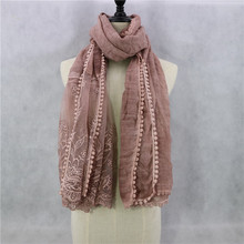 Newest Design Embroidery Hijab Cotton Lace Flower Hollow Scarf  Long Shawls Head Wraps