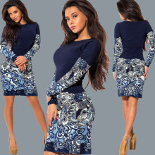 Buy 2017 hot sale long sleeve autumn winter Casual Vintage bodycon women print office lady work sexy elegant pencil dresses vestidos for $9.25 in AliExpress store