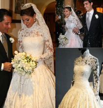 Amazing 2016 Ball Gown Wedding Dress 2016 High Collar Long Sleeves Button Back Lace Appliques Taffeta Wedding Gowns