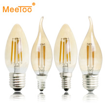 E27 E14 E12 E17 2W 4W 6W 220V 110V C35 Dimmable Retro Filament LED Bulb Lamp Candle Light Chandelier Night Light For Indoor Home(China)