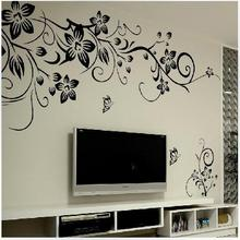 Explosive black butterfly diagonal flower rattan living room TV background decoration can remove wall stickers CC-127(China)