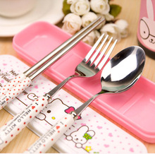 Cute Kawaii Hello kitty Dinnerware Lunch Set Stainless steel Ceramics Handle Tableware E4