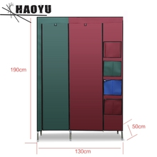 Double Queen simple cloth wardrobe bold 25mm steel pipe steel frame assembly housing Cloth Closet