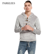New Coral Velvet Hoodies Men Sweat Homme 2017 Autumn Fashion Horn Button Mens Hooded Sweatshirt Casual Slim Fit Hoodei Pullover(China)