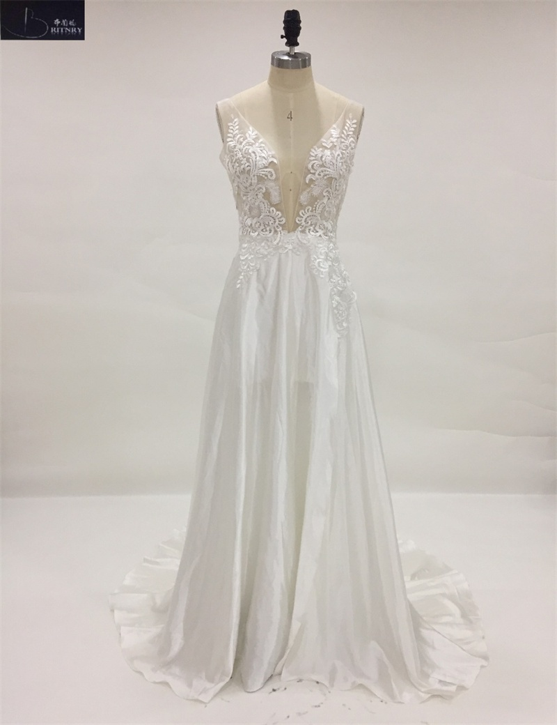 Custom Made V-Neck Appliqued Cut-out Sexy Beach Wedding Dresses for Guest Bohemian Wedding Dress