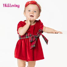Infant Girl Rompers Baptism Dress Christmas Costumes Short Sleeve Red Princess Baby Headband 1St Birthday Wear Dresses For Girls