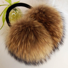 ZDFURS * Oversized really big raccoon fur earmuffs Korean real fur earmuffs lovely personality plush fur ear cover warm(China)