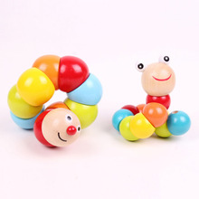 High Quality Variety Colored Caterpillar Shilly Insects Exercise Baby Finger Dexterity Educational Toys Wooden Toy HT2595(China)