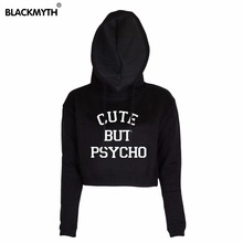 Casual Women Hoodies Long Sleeve CUTE BUT PSYCHO Letters Printing Crop Tops Women Pullover Short Sweatshirts Black White
