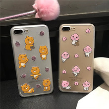 Meachy Cute Korean Cartoon Ryan Apeach Phone Case For iPhone 6 6s plus 7plus Cases Soft Plastic Bear Phone Back Cover Case F31(United States)