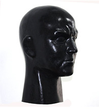 Buy Black Latex Fetish Human Mask Hood Man Face Full Head Hood Mask Fit head 59-63cm