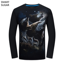 SMARTSUGAR 2017 New Autumn Fashion T-shirt Long Sleeve Men's Cotton Polyester Wolf 3D Slim Breathable Soft Plus Size S-6XL(China)