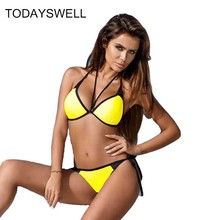 TODAYSWELL Sexy Bikinis Women Swimsuit 2017 Summer Low Waisted Bathing Suits Halter Top Push Up Bikini Set Plus Size Swimwear(China)