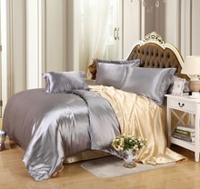 New arrival Hot sale 4pcs  Faux Silk feel Brand Printed Bedding set  Duvet cover set  Twin &Queen &King size Silver