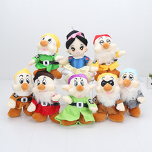 8pcs/set cartoon Snow White Princess and Seven Dwarfs Soft plush Doll Toys approx 8inch stuffed Christmas gift(China)