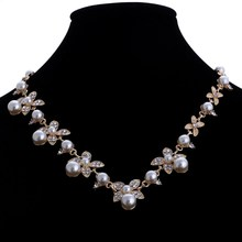Sweet Long Imitate Pearl Necklace Bridal Jewelry Women Banquet All-match Beaded Crystal Leaf Collares Choker Collier Feminias(China)
