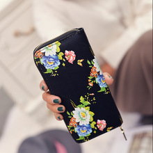 2017 Womens Wallets Leather Long Wallet Ladies Old Flower Zipper Clutch Bag Female Wallet Designer Wallets Famous Brand Card(China)