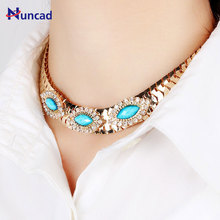 Buy Hot Wide Women Choker Necklace Gold Color Zinc Alloy Female Chain Necklaces Neck Jewelry Women for $1.45 in AliExpress store