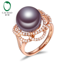 New collection 18k Rose Gold precious 11-12mm Round Freshwater Pearl Ring 0.36ct Natural Diamond manufacturer(China)