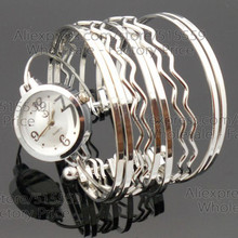 Promotion Top Quality Fashion Silver Women's Bangle Watch Girl's Watch Gift Watch Factory Price Wholesale 100pcs/lot(China)