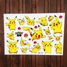 New Pokemon Go Waterproof Tattoo Stickers Children Fake Flash Tattoo For Kids BOdy Art Cartoon Pikachu Harajuku Temporary Tattoo