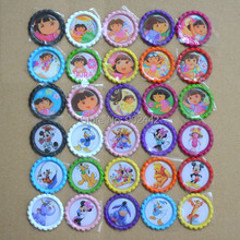 Free Shipping 300 pcs/Lot Dora Flatten Bottle Caps & Famous Animal Image Flatten Caps For Hairbow Decor Accessories(China)