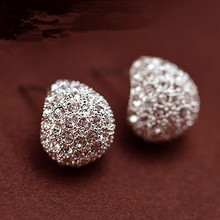 Jewerly Fashion Vintage Full Crystal Crescent Stud Earrings Beatles Earring For Woman New 2016 Christmas Gift Wholesale E184(China)