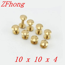 Round head `20 Pieces 10*10mm Leather Craft Belt Wallet Solid Brass Nail Rivet Chicago Screw Cambered Head(China)