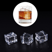 Wholesale 10pcs 3 Sizes Clear Square Fake Artificial Acrylic Ice Cubes Crystal Home Display Decor Artificial Cubes New Arrival