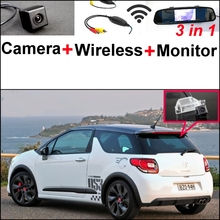 3 in1 Special Rear View Camera + Wireless Receiver + Mirror Monitor Back Up Parking System For Citroen DS3 DS 3 2009~2015