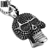 HIP Hop Titanium Stainless Steel Bling Micro Pave Black Rhinestone Skeleton Head Skull Pendants Necklaces for Men Jewelry