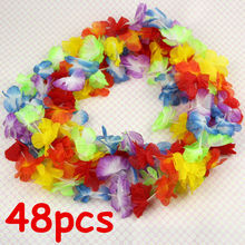 48pcs Lei Flower Garlands Necklace Hawaiian Tropical Beach Party Fancy Dress(China)