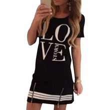 2016 New Product Women's  Style Casual Zipper LOVE Printed Short Sleeve One-piece Dress