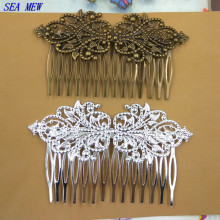 SEA MEW 95*55mm Filigree 14 Teeth Hair Combs Base Silver Color Antique Bronze Hair Comb Wedding For Women DIY Jewelry Accessory