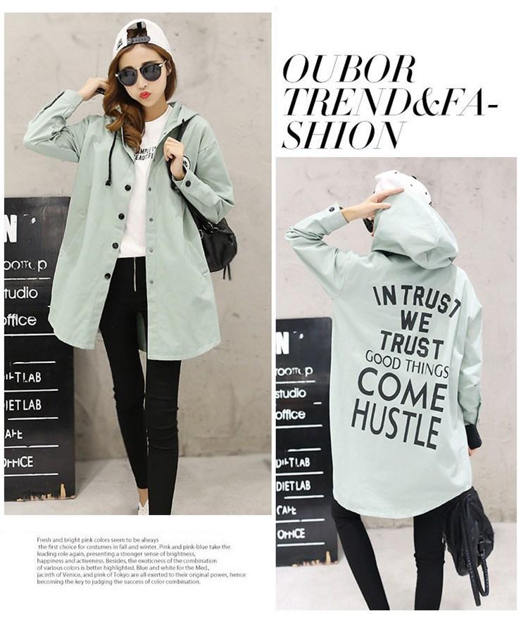 Jackets Women 2019 New Winter Fall Women\`s Basic Jacket Letter Print Coats Outwear Windbreaker Jacket Hooded Chaquetas Mujer (13)