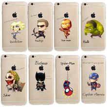 Phone Case Marvel The Avengers Batman DC Comics Superhero soft Transparent TPU case cover for iPhone 7 7Plus 6S 5S SE 6 plus
