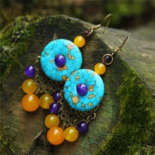 Beautiful Unique Elegant Colored Tur quoise Button Yellow Chalcedony Dotted with Purple Beads Earrings Original Ethnic Jewelry(China)
