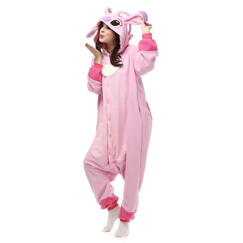 Kigurumi-Pink-Stitch-Polar-Fleece-Costume-Cartoon-Onesie-Pajama-Halloween-Carnival-Masquerade-Party-Jumpsuit