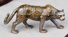 Leopards Collector hinged Pewter Trinket Box Hidden Treasure Snow Leopard Pewter Bejeweled Hinged Trinket Jewelry Box