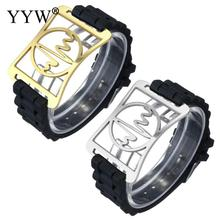 YYW New Hot Unique Men Wrist Bracelets Black Silicone Gold-color Stainless Steel ID Heart Beat Charm Adjustable Bracelets Bangle