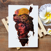 Waterproof Temporary Tattoos Stickers Wolf Girl Arm Tattoo Flash Water Transfer Tattoos fake tattoos for women men #465(China)