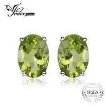JewelryPalace Oval 1.8ct Natural Green Peridot Birthstone Stud Earrings Genuine 925 Sterling Silver Fine Jewelry For Women(China)