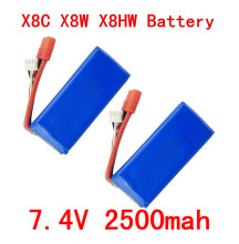BLL 2PCS New big battery Syma X8C X8W X8G X8HC X8HG X8HW 2S 7.4V 2500mAh 25C Lipo Battery Helicopter Battery